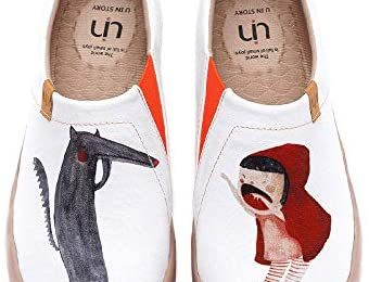 UIN Women's Flats Canvas Lightweight Sneakers Slip Ons Walking Casual Art Painted Travel Holiday Shoes Princess's Garden