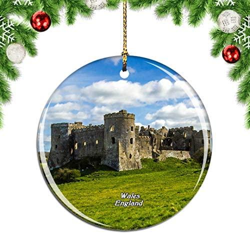 Weekino UK England Carew Castle Wales Christmas Xmas Tree Ornament Decoration Hanging Pendant Decor City Travel Souvenir Collection Double Sided Porcelain 2.85 Inch