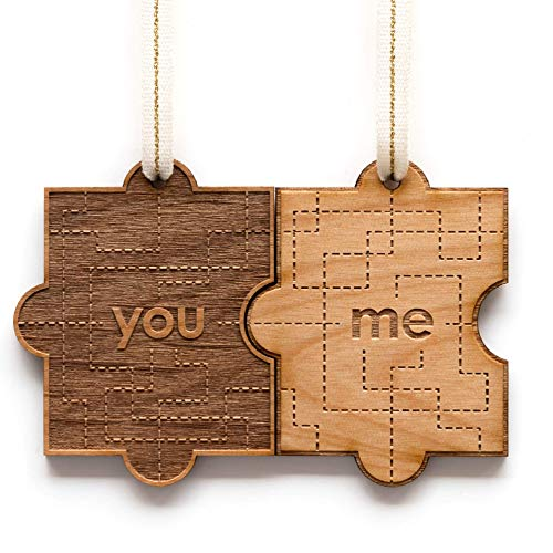 You & Me Puzzle Piece Laser Cut Wood Ornament [Christmas, Holiday, Love, Anniversary, Personalized Gifts, Custom Message, Stocking Stuffers]