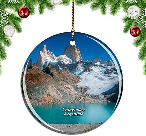 Weekino Mount Fitzroy Patagonia Mountain Glacier Lake Argentina Christmas Xmas Tree Ornament Decoration Hanging Pendant Decor City Travel Souvenir Collection Double Sided Porcelain 2.85 Inch