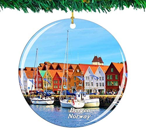 Weekino Norway Bryggen Hanseatic Wharf Bergen Christmas Ornament City Travel Souvenir Collection Double Sided Porcelain 2.85 Inch Hanging Tree Decoration
