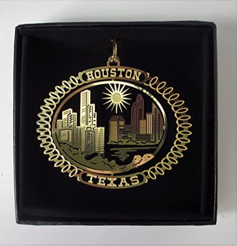Houston Texas Brass Ornament Souvenir Black Leatherette Gift Box