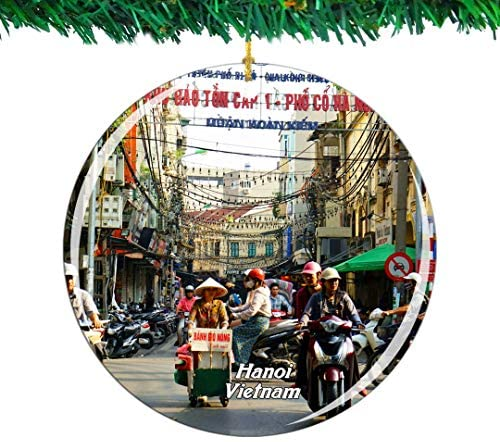 Weekino Vietnam Old Town Hanoi Christmas Ornament City Travel Souvenir Collection Double Sided Porcelain 2.85 Inch Hanging Tree Decoration