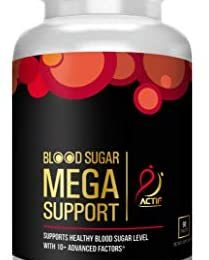 Actif Blood Sugar Mega Support with 10+ Advanced Factors and Organic Herbal Blend, Fast Acting, Made in USA, 90 Count