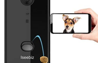 Iseebiz Smart Pet Camera, [Upgraded] Dog Camera Treat Dispenser, 2-Way Audio, 1080P Night Vision Camera, App Control Tossing, Multi Devices Login, Compatible with Alexa, Play with Your Dogs and Cats