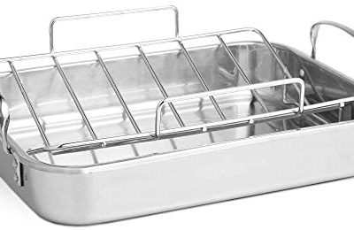 VonShef Stainless Steel Roasting Pan – 17 Inch Rectangular Roaster Pan with Rack – Ideal for Roasting Chicken, Turkey, Meat Joints & Vegetables – 8 Quart Capacity