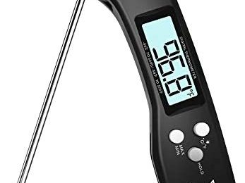 DOQAUS Digital Meat Thermometer, 3s Instant Read Food Thermometer for Cooking, Digital Kitchen Thermometer Probe with Backlight & Reversible Display, Cooking Thermometer for Turkey Candy Grill BBQ