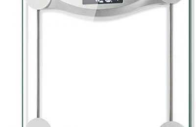Etekcity Digital Body Weight Bathroom Scale, 440 Pounds, 6mm Tempered Glass Platform with Rounded Corner Design, Large Backlit LCD Display, Body Tape Measure Included