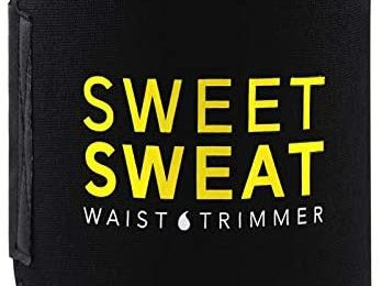 Sweet Sweat Waist Trimmer for Men & Women Black/Yellow   Premium Waist Trainer Sauna Suit, Includes Sample of Sweet Sweat Gel!
