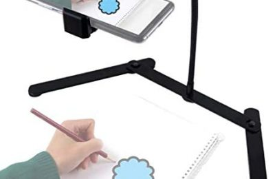 Ajustable Tripod with Cellphone Holder, Overhead Phone Mount, Table Top Teaching Online Stand for Live Streaming and Online Video and Food Crafting Demo Drawing Sketching Recording