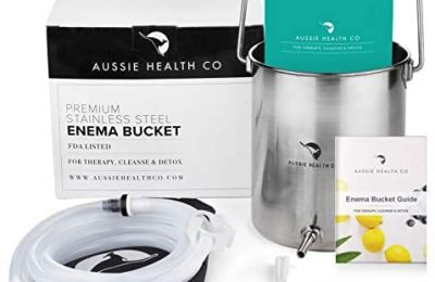 Aussie Health Co Enema Kit – Non-Toxic Stainless Steel 2 Quart Bucket – Ideal for Home Coffee or Water Colon Cleansing Detox Enemas – Includes Nozzle Tips, Guide Book, and Discrete Storage Bag