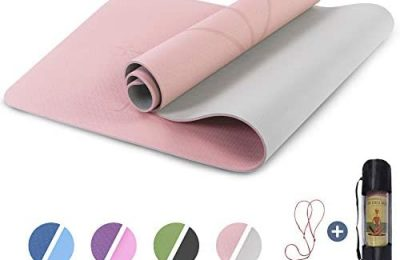 Yoga Mat Non Slip, Pilates Fitness Mats with Alignment Marks, Eco Friendly, Anti-Tear Yoga Mats for Women, 1/4″ Exercise Mats for Home Workout with Carrying Strap