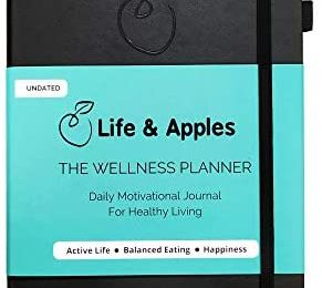 Life & Apples Wellness Planner – Food Journal and Fitness Diary with Daily Gratitude and Meal Planner for Healthy Living – Track Weight Loss Diet and Achieve Health Goals – Undated, Black