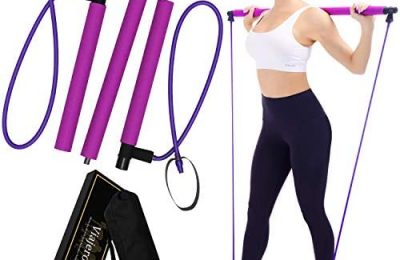 Viajero Pilates Bar Kit for Portable Home Gym Workout – 2 Latex Exercise Resistance Band – 3-Section Sticks – All-in-one Strength Weights Equipment for Body Fitness Squat Yoga with E-Book & Video