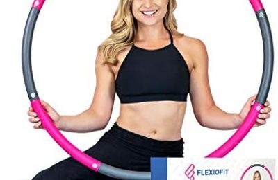 FlexioFit Weighted Hula Hoop for Adults with 30 Minute Workout Video – 2lb Exercise Hoola Hoop with Smooth Performance Foam – Adjustable Adult Fitness Hoops – Fun for Family – Sports Hoop