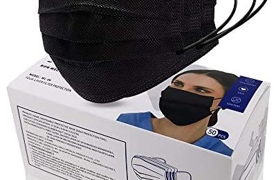 MSAAEX 50 Pcs Disposable 4-ply Non-Woven Face Mask, Protected Health Masks (Adults-Black)