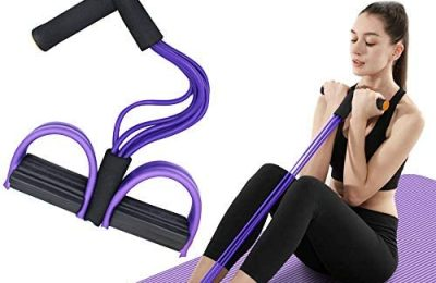 FateFan Multifunction Tension Rope, 6-Tube Elastic Yoga Pedal Puller Resistance Band, Natural Latex Tension Rope Fitness Equipment, for Abdomen/Waist/Arm/Leg Stretching Slimming Training