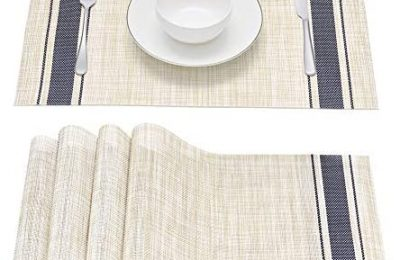 Placemats Set of 4, Smeala Heat Insulation Washable Place Mats, 17.7 x 11.8 inches Durable Non-Slip Kitchen Table Mats Placemat for Dining Table (Blue)