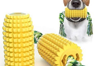 USWT Corn-Shaped Dog Toys Puppy Toy Dogs Supplies Dog Float Toy Food Dispenser Molar Toothbrush Chew Rope Super Bite-Resistance Material Anti-Destruction Video Display¡­