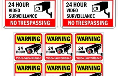 WISLIFE Video Surveillance Sign Set, 2 (10″ X 7″) Aluminum Warning Signs & 6 (6″X6″) Window Stickers, Video Security Signs