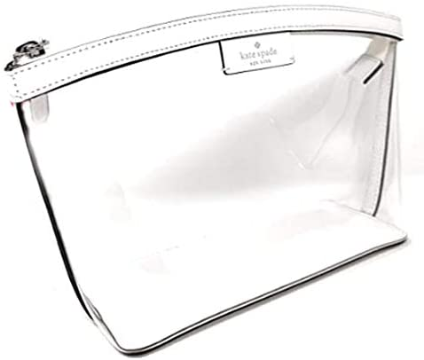 Kate Sapde New York Medium Cosmetic Pouch Travel Case Clutch Clear Bag White, Small