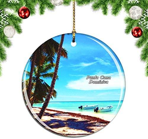 Weekino Saona Island Punta Cana Dominica Christmas Xmas Tree Ornament Decoration Hanging Pendant Decor City Travel Souvenir Collection Double Sided Porcelain 2.85 Inch