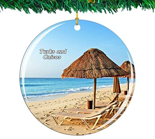 Weekino Grace Bay Beach Turks and Caicos Christmas Ornament City Travel Souvenir Collection Double Sided Porcelain 2.85 Inch Hanging Tree Decoration