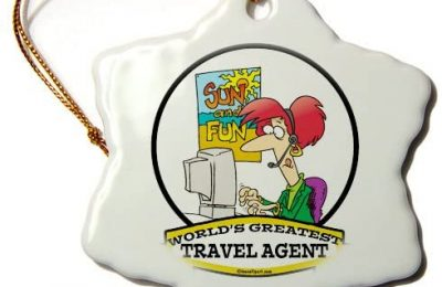 3dRose orn_103620_1 Funny Worlds Greatest Travel Agent Occupation Job Cartoon-Snowflake Ornament, 3-Inch, Porcelain