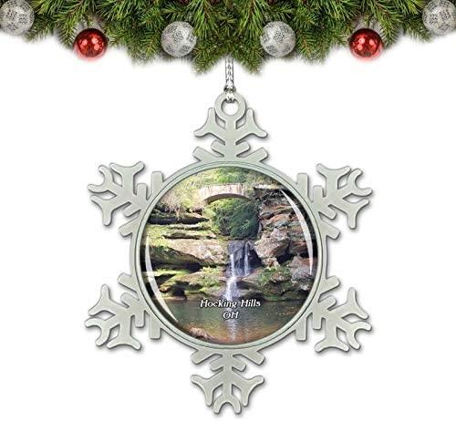Umsufa Hocking Hills Park Ohio USA Christmas Ornament Tree Decoration Crystal Metal Souvenir Gift