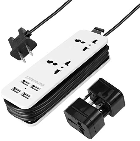 New & Improved 2020 POWERGENCE Travel Adapter Power Strip Charging Station for Home Office with Carrying Case and Universal Adapter Plugs - 2 Universal AC Sockets and 4 Fast Charge USB Ports