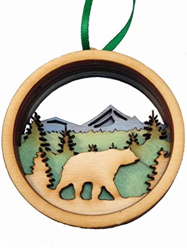 Wooden 3D Holiday Ornament Black Bear - Made in Maine - Gift Boxed