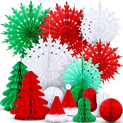 WILLBOND 16 Pieces Christmas Honeycomb Decorations Assorted 3D Paper Honeycomb Decoration Hanging Honeycomb Tree Ball Bell Hat Snowflake for Christmas Party Favors
