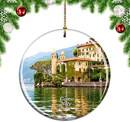 Weekino Italy Villa del Balbianello Como Lake Christmas Ornament City Travel Souvenir Collection Double Sided Porcelain 2.85 Inch Hanging Tree Decoration