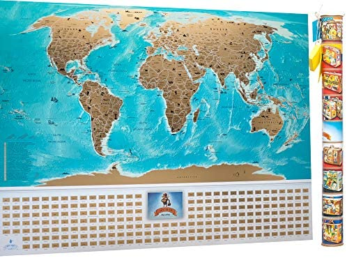 Travel World Scratch Off Map 35x25 MyMap Map of the world with Flags USA States Divided Detailed Push Pin Travel Map Poster Gift
