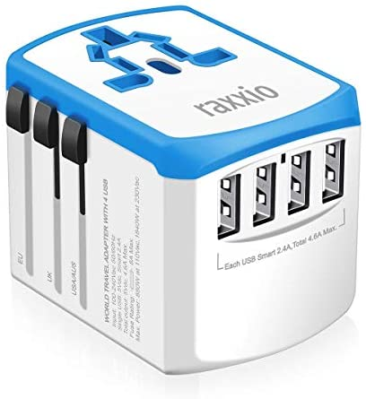 Raxxio Universal Travel Adapter, International Smart Power Plug with 2.4A 4 USB Ports Adapter, Converter for US, Canada, UK, Europe, AU, Asia (Blue and White)