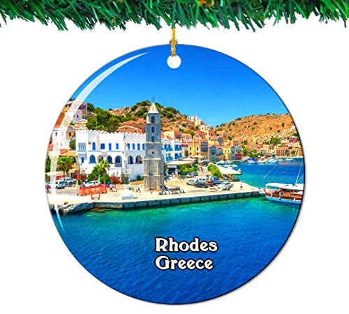 Weekino Symi Rhodes Greece Hellas Christmas Ornament City Travel Souvenir Collection Double Sided Porcelain 2.85 Inch Hanging Tree Decoration