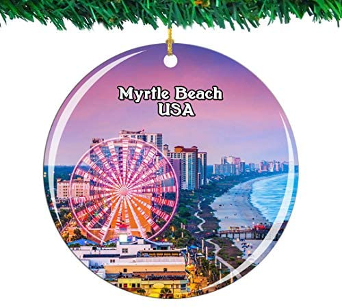 Weekino USA America Myrtle Beach Christmas Ornament City Travel Souvenir Collection Double Sided Porcelain 2.85 Inch Hanging Tree Decoration