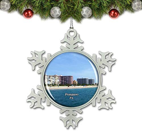 Umsufa Pompano Beach Florida USA Christmas Ornament Tree Decoration Crystal Metal Souvenir Gift