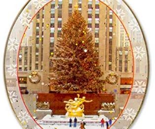 New York City Christmas Ornament – Rockefeller Center Skating Rink – Christmas Tree Ornament from Christmas in NYC Collection – Doublesided with Glitter