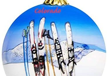 Art Studio Company Hand Painted Glass Christmas Ornament – Skis & Poles in Snow Colorado