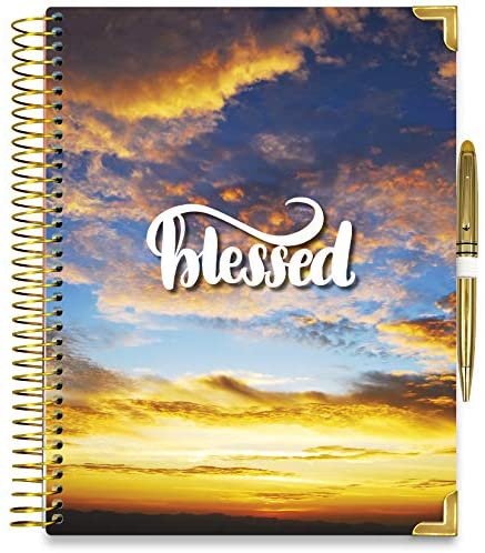 Tools4Wisdom Hardcover Daily Planner 2021-2022 - April 2021 to June 2022 Academic Calendar - 8.5 x 11 Hardcover w/Pen - Full Color Weekly Planner Pages - Q2Pro - Blessed Blue Sky Cover