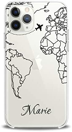 Lex Altern Case Compatible with iPhone 12 Mini 5G 11 Pro Xs Max Xr 8 X 7 Plus 6 SE 5 Travel Map Cover Custom Soft Airplane Slim fit Travel Smooth Continental Print Woman Clear Design Lightweight Man
