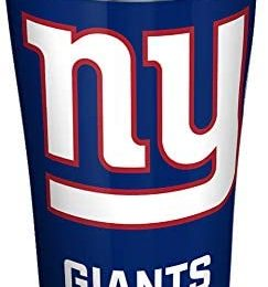 Tervis NFL New York Giants – Touchdown Stainless Steel Insulated Tumbler with Clear and Black Hammer Lid, 20 oz, Silver