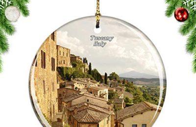 Weekino Tuscany Italy Christmas Xmas Tree Ornament Decoration Hanging Pendant Decor City Travel Souvenir Collection Double Sided Porcelain 2.85 Inch