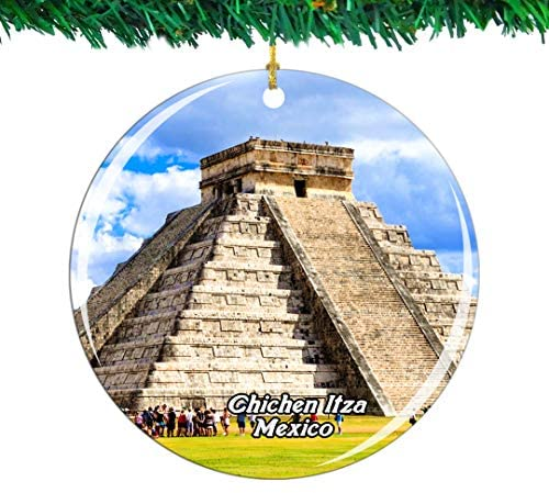Weekino Mexico Chichen Itza Christmas Ornament City Travel Souvenir Collection Double Sided Porcelain 2.85 Inch Hanging Tree Decoration