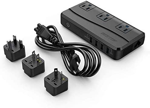 BESTEK Universal Travel Adapter Power Step Down 220V to 110V Voltage Converter with QC3.0 USB Charging Port International Travel Adapter for UK/AU/US/EU/Asia, ETL Listed