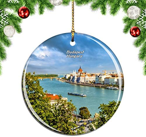 Weekino Hungary Danube River Budapest Christmas Xmas Tree Ornament Decoration Hanging Pendant Decor City Travel Souvenir Collection Double Sided Porcelain 2.85 Inch