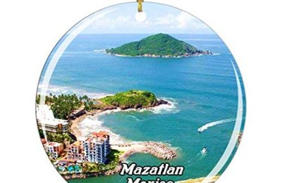 Weekino Mexico Mazatlan Christmas Ornament City Travel Souvenir Collection Double Sided Porcelain 2.85 Inch Hanging Tree Decoration