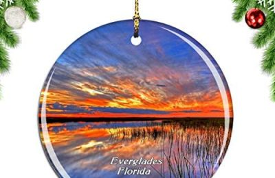 Weekino Everglades National Park Florida USA Christmas Xmas Tree Ornament Decoration Hanging Pendant Decor City Travel Souvenir Collection Double Sided Porcelain 2.85 Inch