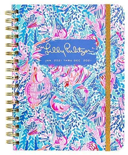 Lilly Pulitzer Large 2021 Planner Weekly & Monthly, Dated Jan 2021 - Dec 2021, 12 Month Hardcover Agenda with Notes/Address Pages, Colorful Stickers, Pocket, & Laminated Dividers, Treasure Trove